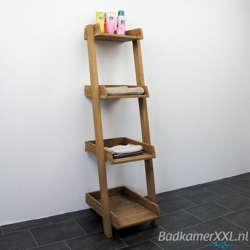 Badkamer decoratie ladder met planken | Dream Home | Pinterest