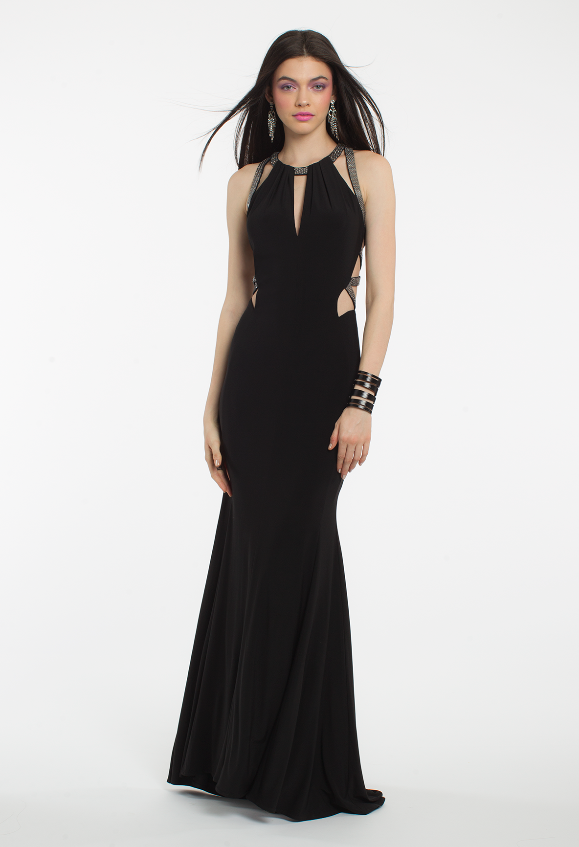 This long evening dress is exquisite from every angle the halter