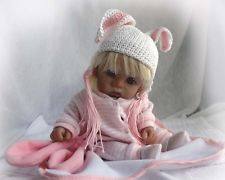OOAK Polymer Clay Original Hand Sculpted BABY GIRL BUNNY  DOLL COLLECTOR ~TRice