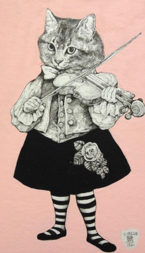 Pin De Marcos Ahumada En 3 Gatos Conejos Y Personas Dibujos De Gatos Gato Musica Animales Con Ropa