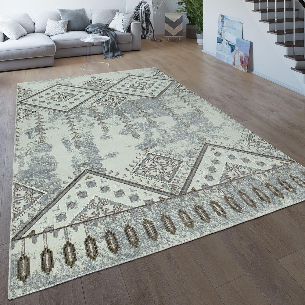 Moderner Teppich Designer Teppich Orientteppich Wohnzimmer Teppich mit Karo Must