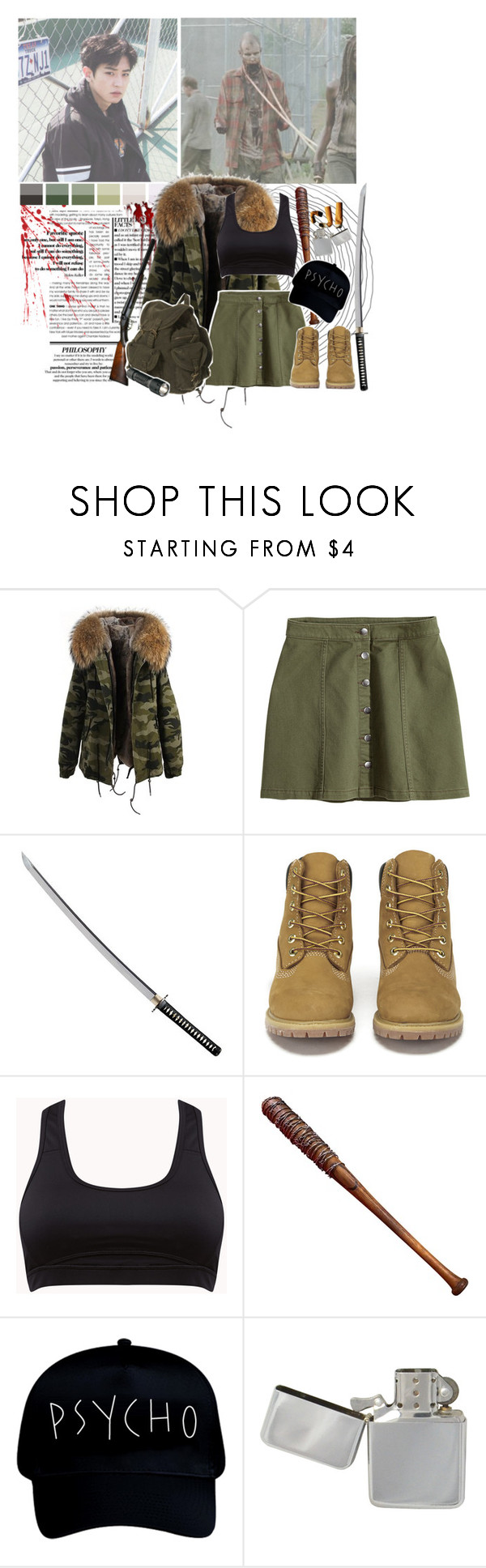 """Chanyeol: Warriors"" by supremebts ❤ liked on Polyvore featuring H&M, Cold Steel, Timberland, Lucille and Streamlight"