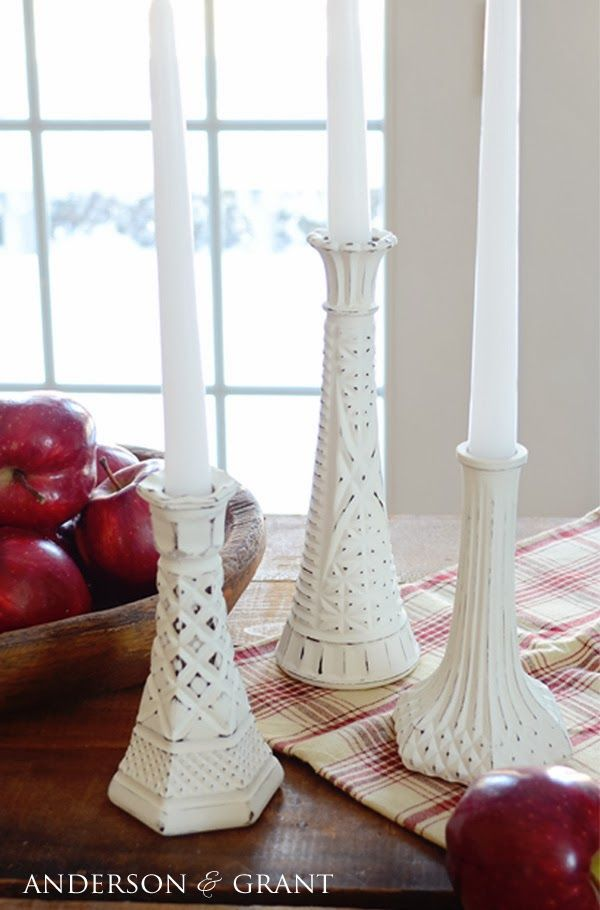 Thrift Store Transformation   DIY Distressed Candlesticks - Shabby chic decor diy, Shabby chic diy projects, Distressed candle sticks, Shabby chic diy, Diy chalk paint, Diy chalk - Learn how to create shabby distressed painted candlesticks using thrift store glass bud vases