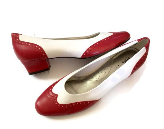 Women S Spectator Shoes Flats Size 8 Red White Hush Puppies Square Heel Round Toe Vegan Faux Leather Retro Womens Spectator Shoes Spectator Shoes Vintage Shoes