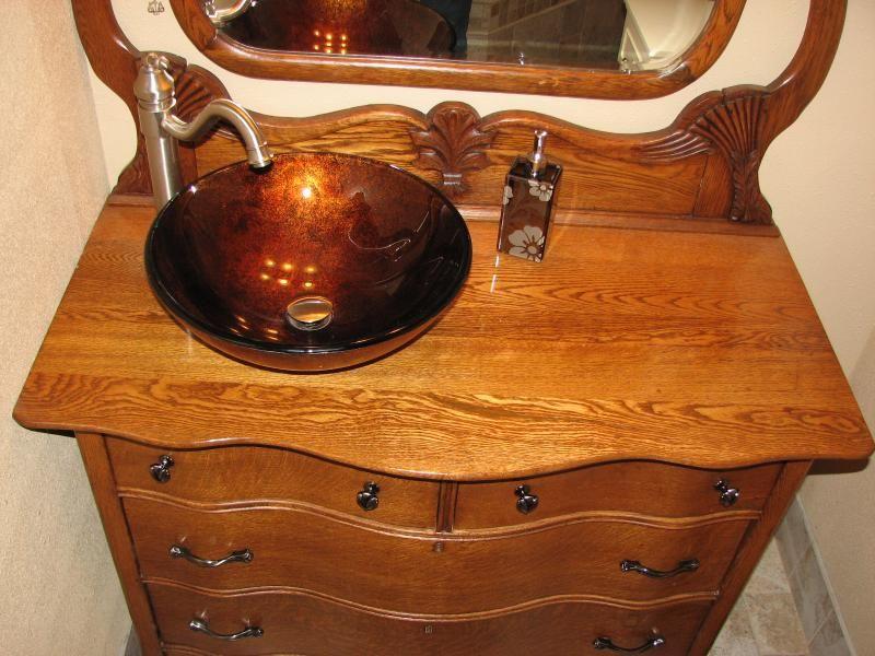 Turn Your Antique Dresser To A Beautiful Vanity Sink Bathroom - Dresser turned bathroom vanity for bathroom decor ideas