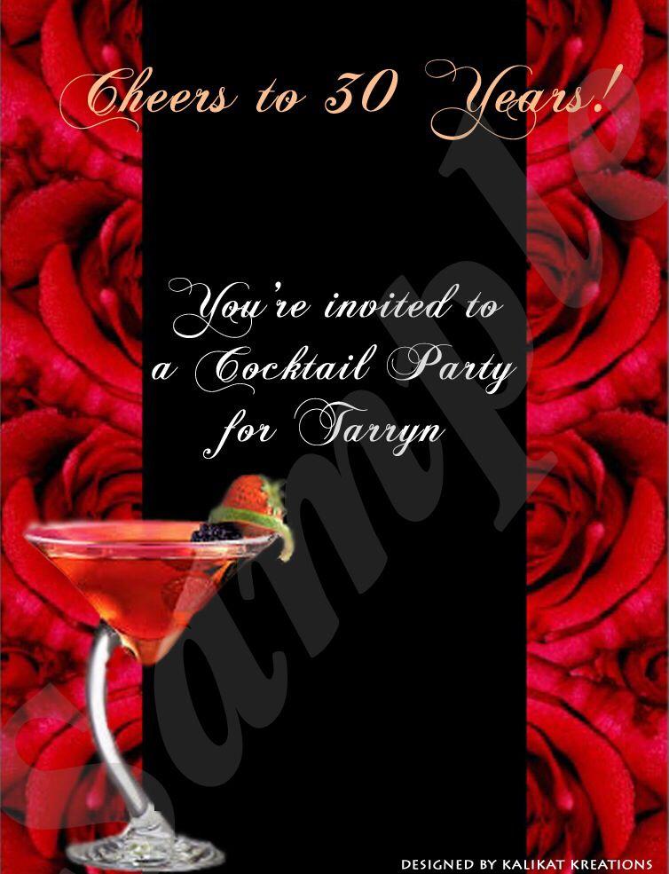 30th Birthday Evite Cocktail Party Birthday Evites 30th Birthday Party