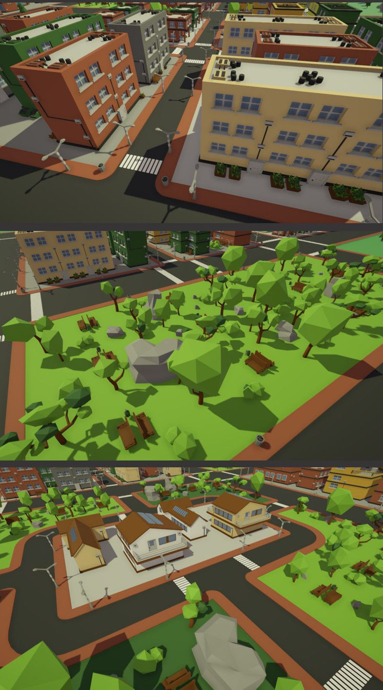 LowPoly City #Asset #3D Models Environments Package presents a full