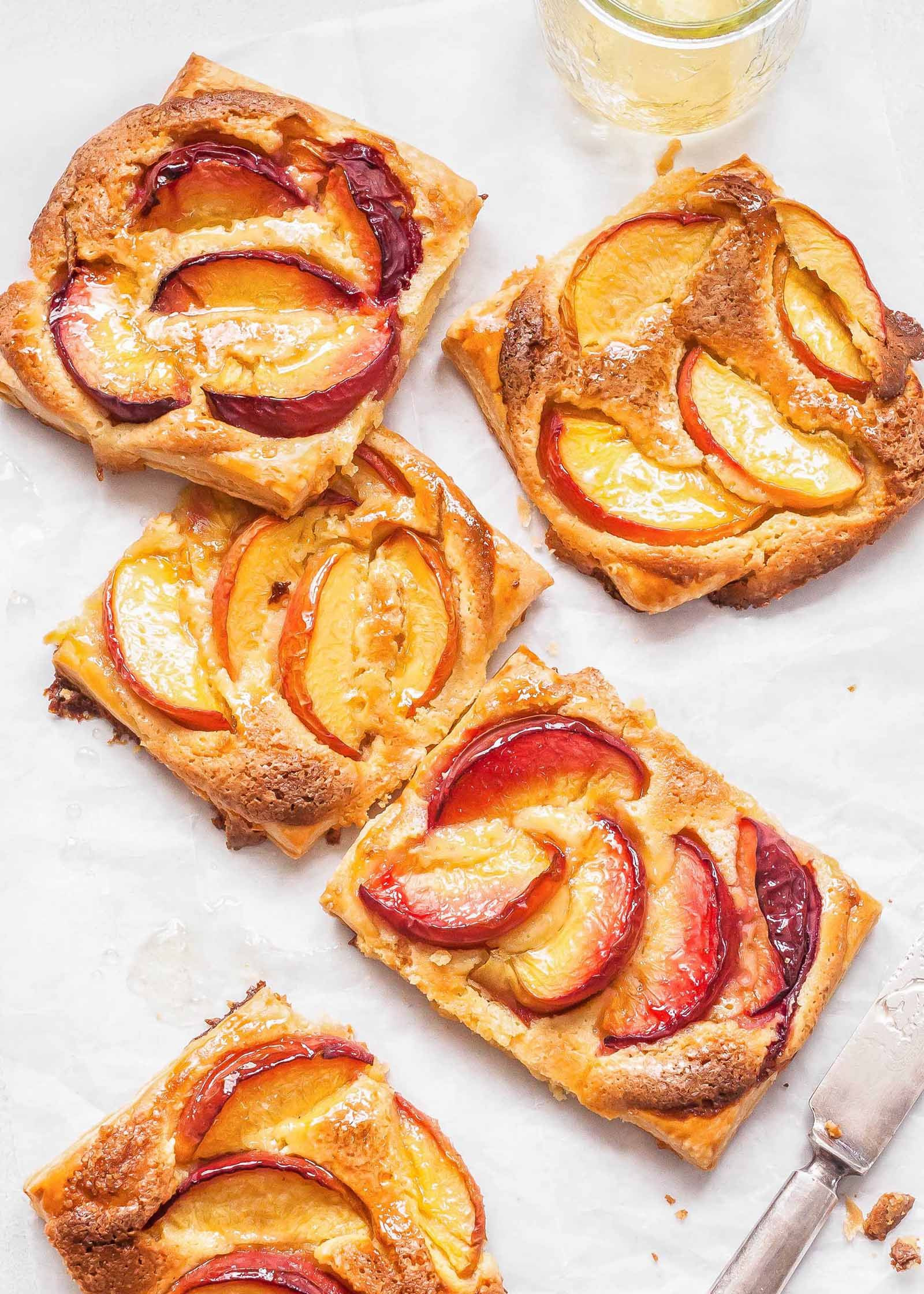 Peach Frangipane Puff Pastry Tarts Recipe | SimplyRecipes.com
