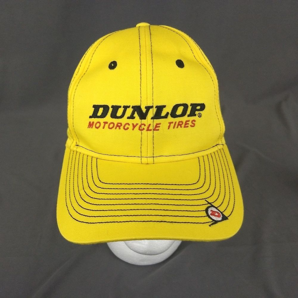 8f83dcfa48c578 Dunlop Motorcycle Tires StrapBack Hat Yellow Baseball Cap New #Otto  #BaseballCap