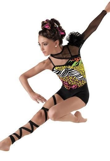 Dance Costume Medium Child Animal Print Leopard Unitard Jazz Solo