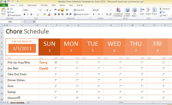 weekly chore schedule template for Excel 2013 #task list - office phone directory template