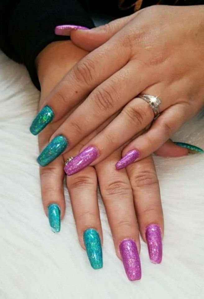 No polish, All holographic glitter! I love my nail tech! Hands down ...