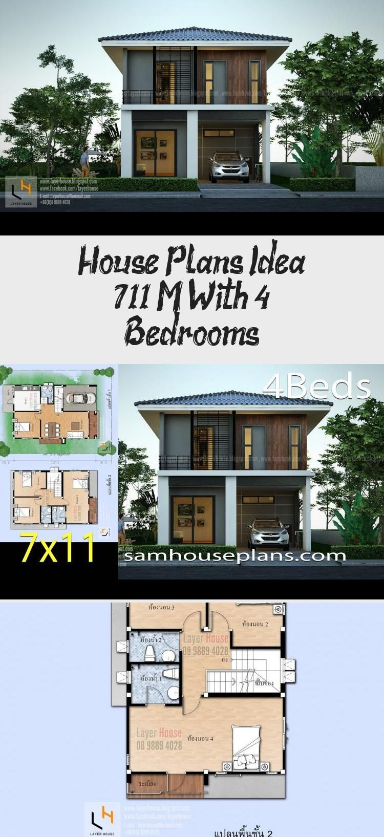 House Plans Idea 7x11 M With 4 Bedrooms Sam House Plans Smallhouseplansvintage Smallhouseplansunder900sqft Smallhouseplanstw In 2020 House Plans House Small House