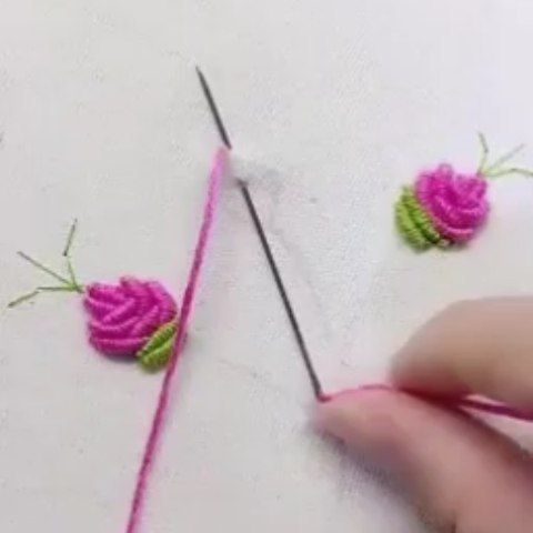 Crochet Thread Embroidery Colorful Flower Chain Stitch – Knitdo