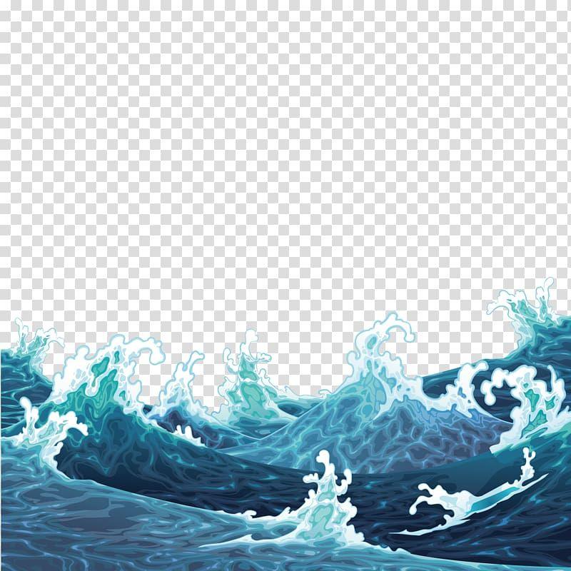 Big Wave Illustration Illustration Waves Are Raging Transparent Background Png Clipart Wave Illustration Waves Cartoon Water Illustration