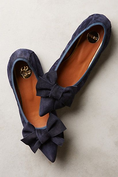 highbrow suede skimmers - preppy boho bow flat in navy #anthrofave