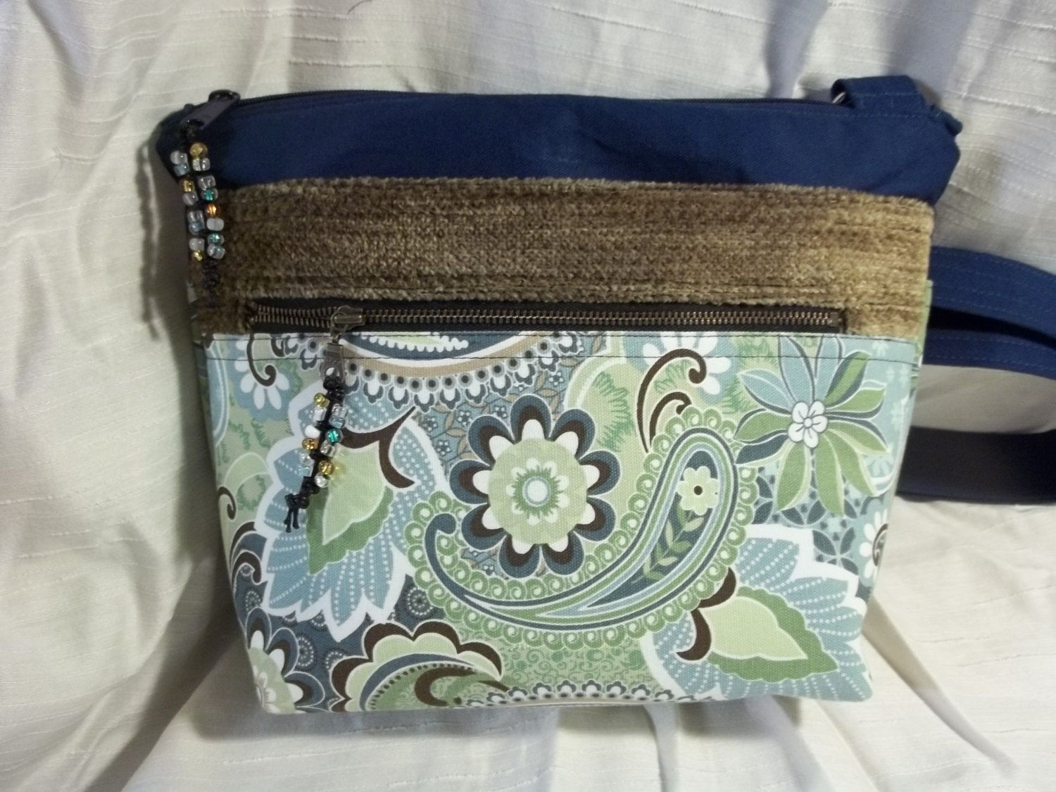 Cross body VI in paisley floral, blues, greens, and browns, with an adjustable strap by ChickadeeHillDesigns on Etsy