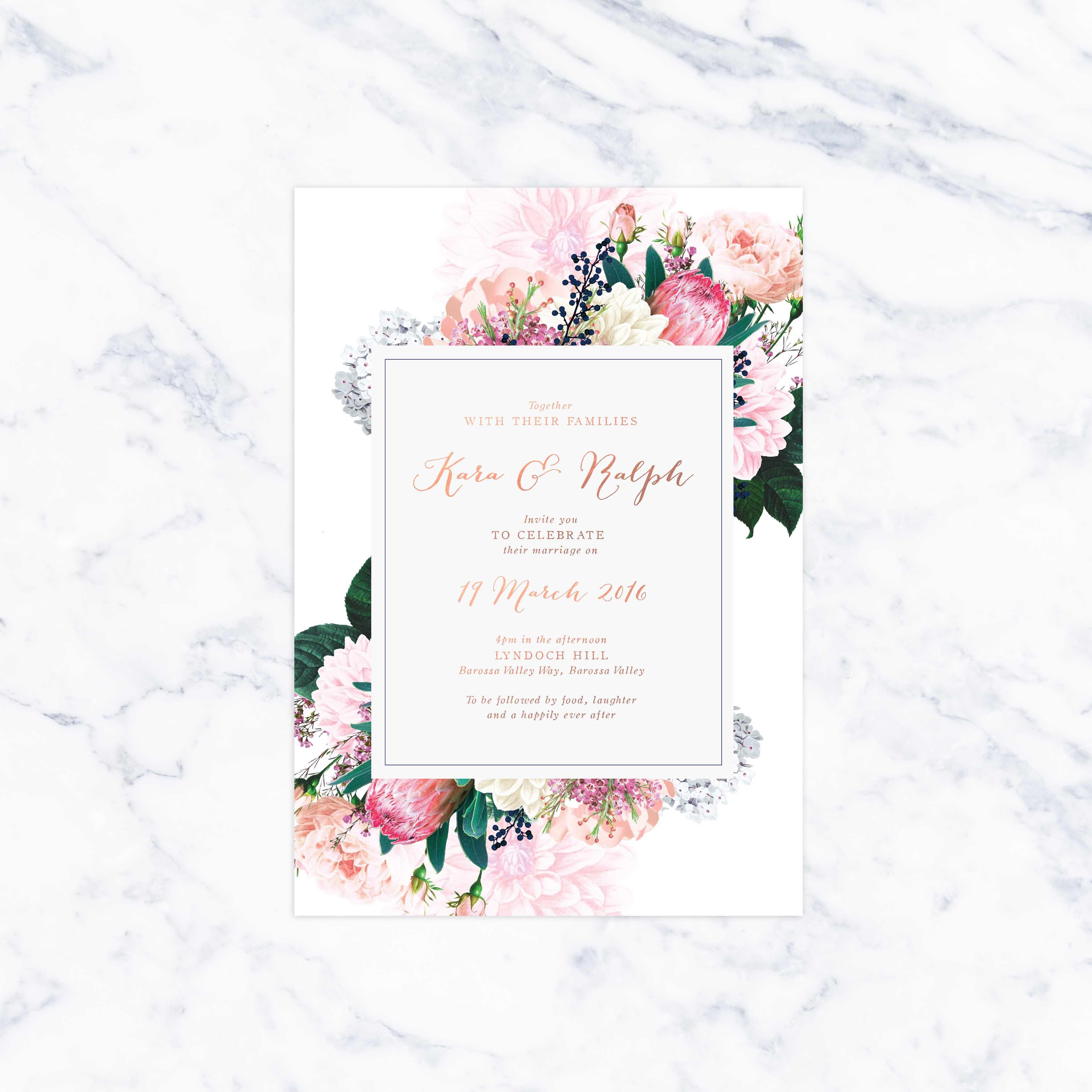 native floral pretty protea foil wedding invitations in 2018