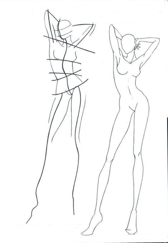 Disegno Fashion Figurino Moda Schizzi Di Moda Bozzetto Moda E