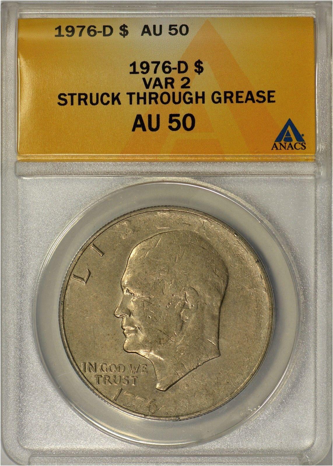 error #errorcoins 1976 D Type 2 Eisenhower Dollar ANACS AU50 - Mint