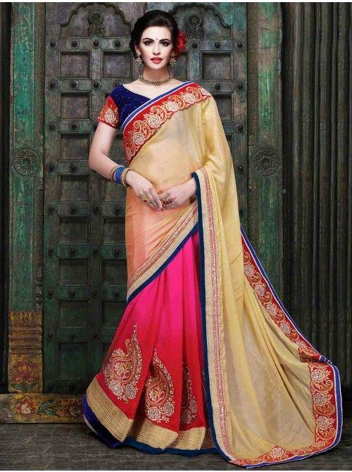 Buy Light Cream Georgette Saree With Resham And Zari Embroidery Work Online - Saree.com