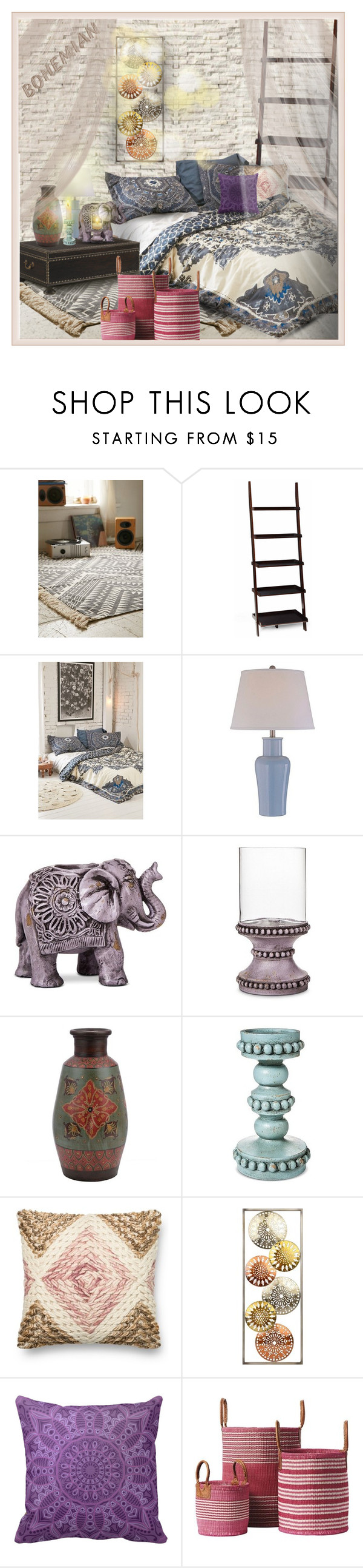 """Boho Chich Decor"" by falticska-cerasella ❤ liked on Polyvore featuring interior, interiors, interior design, home, home decor, interior decorating, Magical Thinking, Lite Source, Boho Boutique and Loloi Rugs"