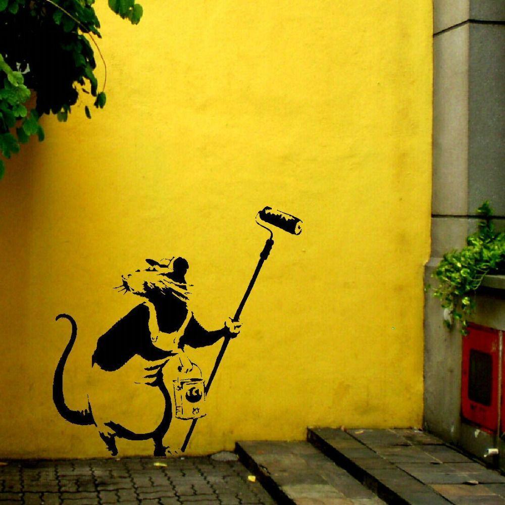 banksy rat paint roller pole wall art sticker stencil transfer decal ...
