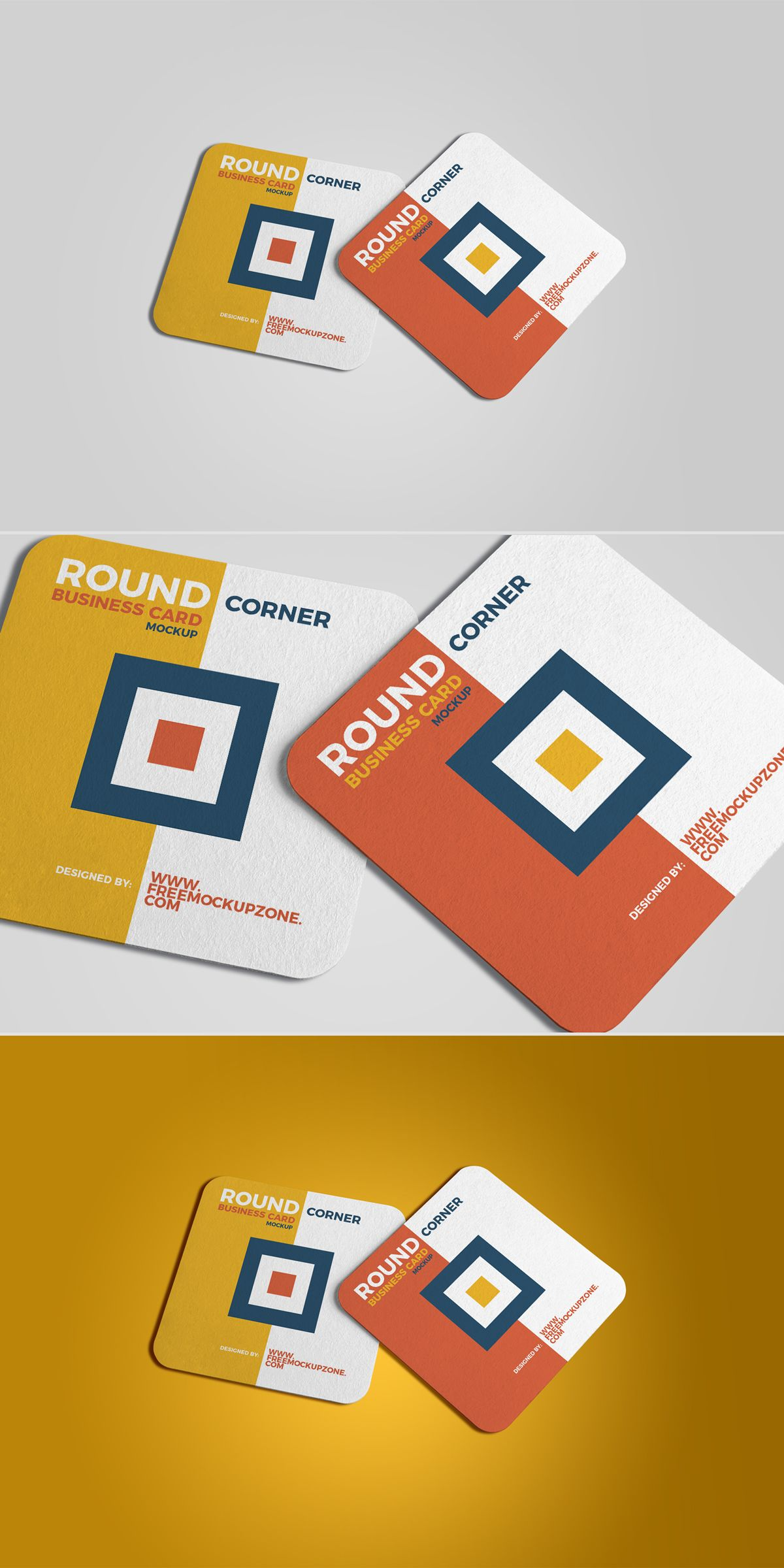 Free square round corner business card mockup 2018 on