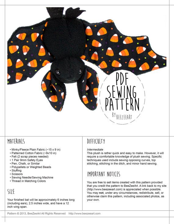 Stuffed Animal Bat Sewing Pattern, Plush Toy Pattern, PDF #stuffedanimals