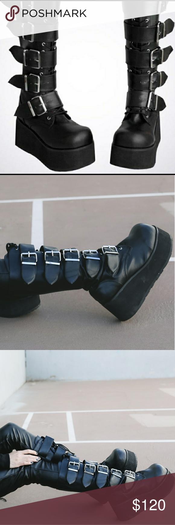 d9d2e1bdf5d Demonia Trashville 518 Platform Buckle Boots Goth Knee high platform boots  with five wide buckle straps