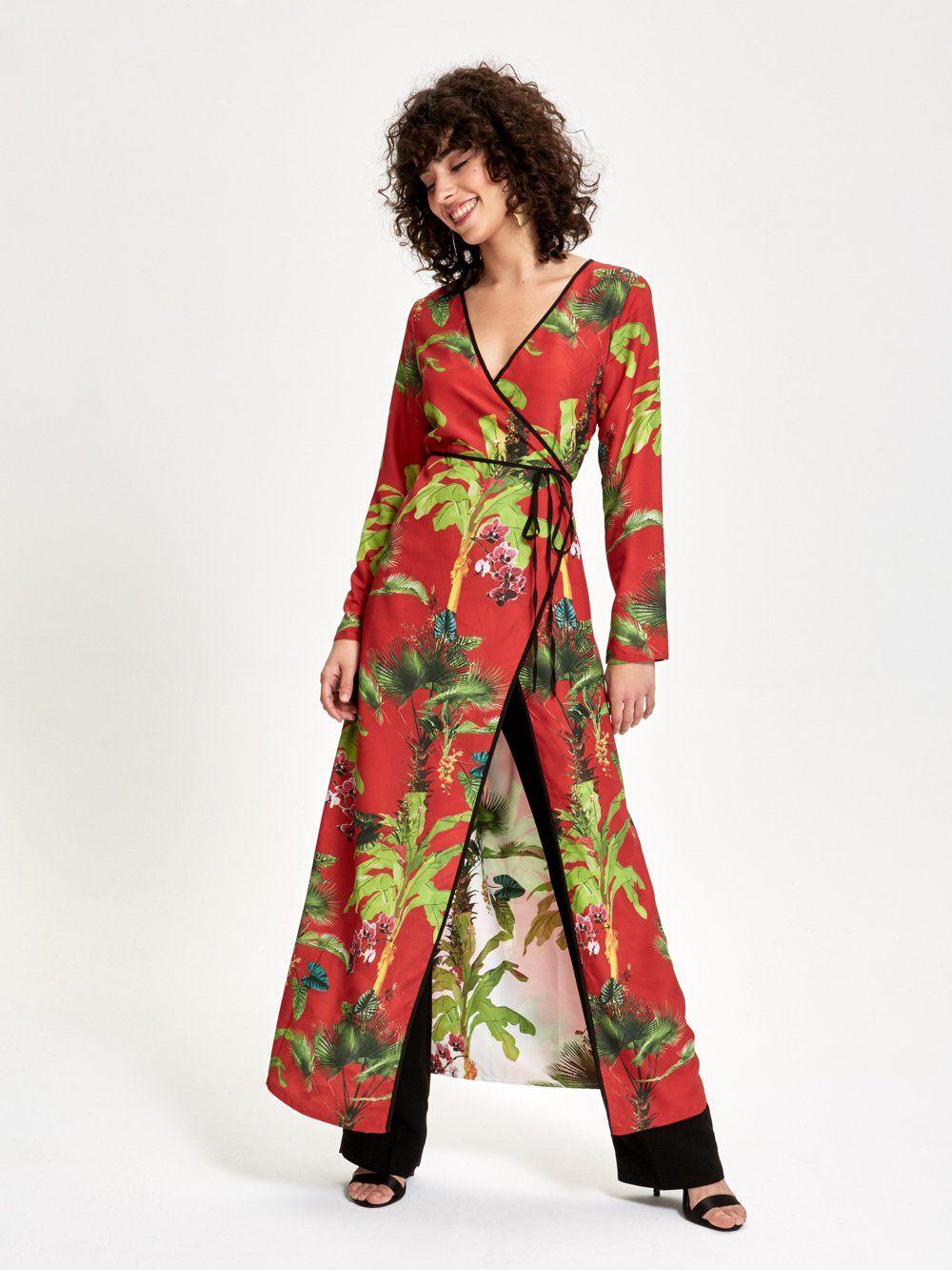 MIOH - JADE - Kimono Estampado Tropical Reversible para invitada de boda 1786219b8299