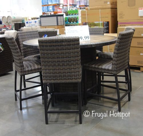 Agio Eastport 7 Piece High Dining Set With Fire Table Costco Frugalhotspot