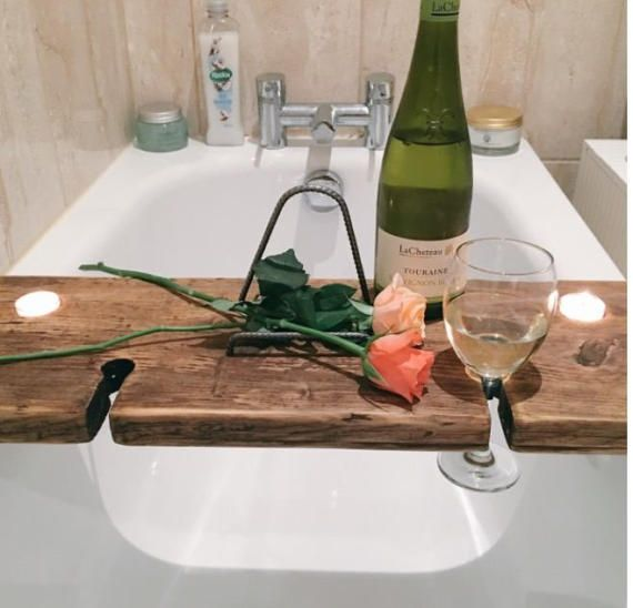 Bath Shelf Bath Tray Book Holder Tablet by SpudsCreativeAsylum | DIY ...