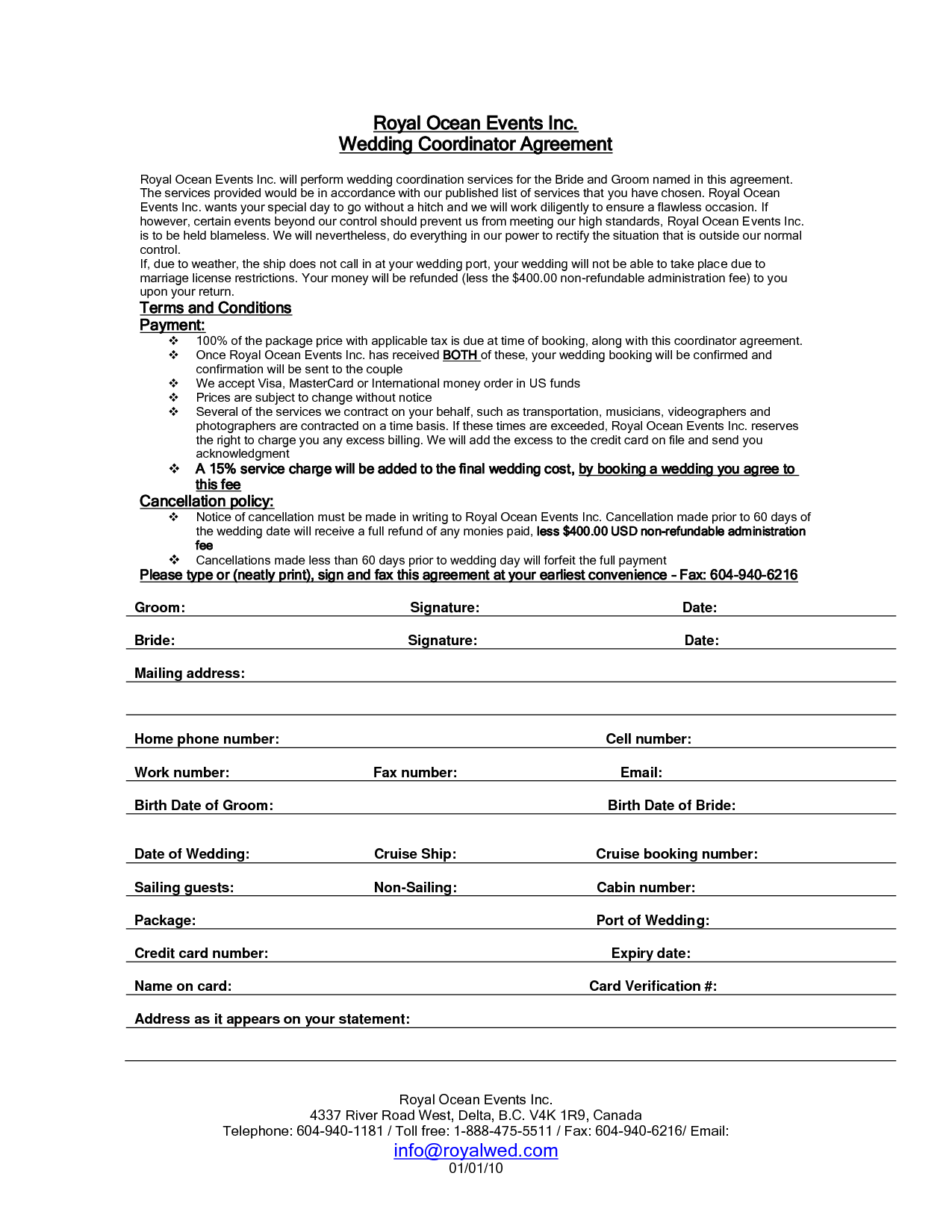wedding planner contract sample templates