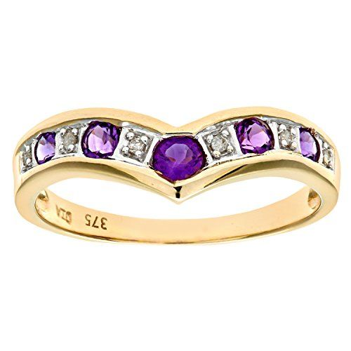 Naava 9ct Yellow Gold Ladies Diamond and Amethyst Ring dHa2Srien2