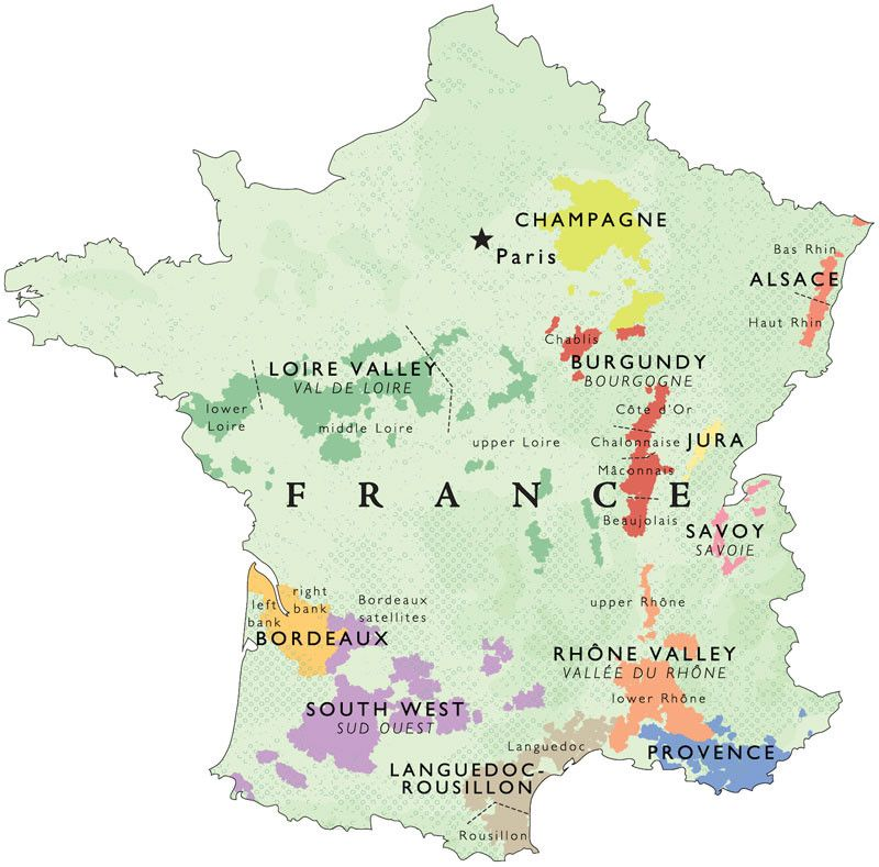 Wine Map of France Regions Detail Vinhos Pinterest Wine