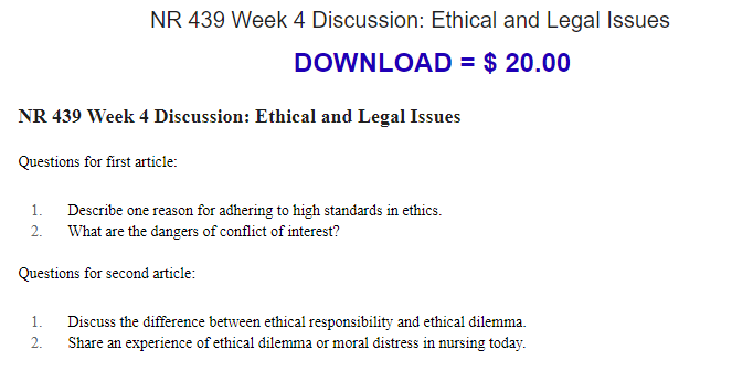 BUY TO DOWNLOAD: NR 439 Week 4 Discussion: Ethical and Legal