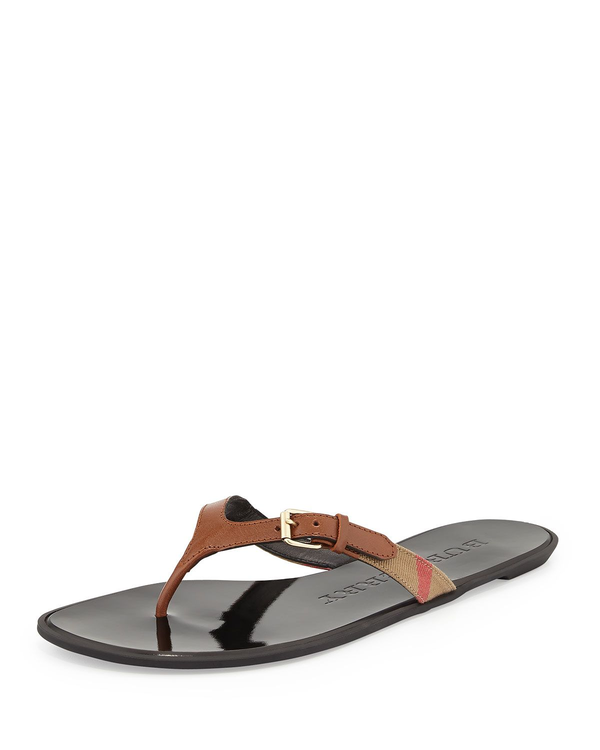 caaea6a68296 Masie Belted Check Thong Sandal