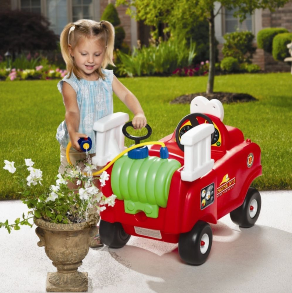 Ride On Fire Truck Red for Kids 18 mths to 5 yrs Includes Removable Water Hose Retro Style http://www.ebay.com/itm/-/151853156328