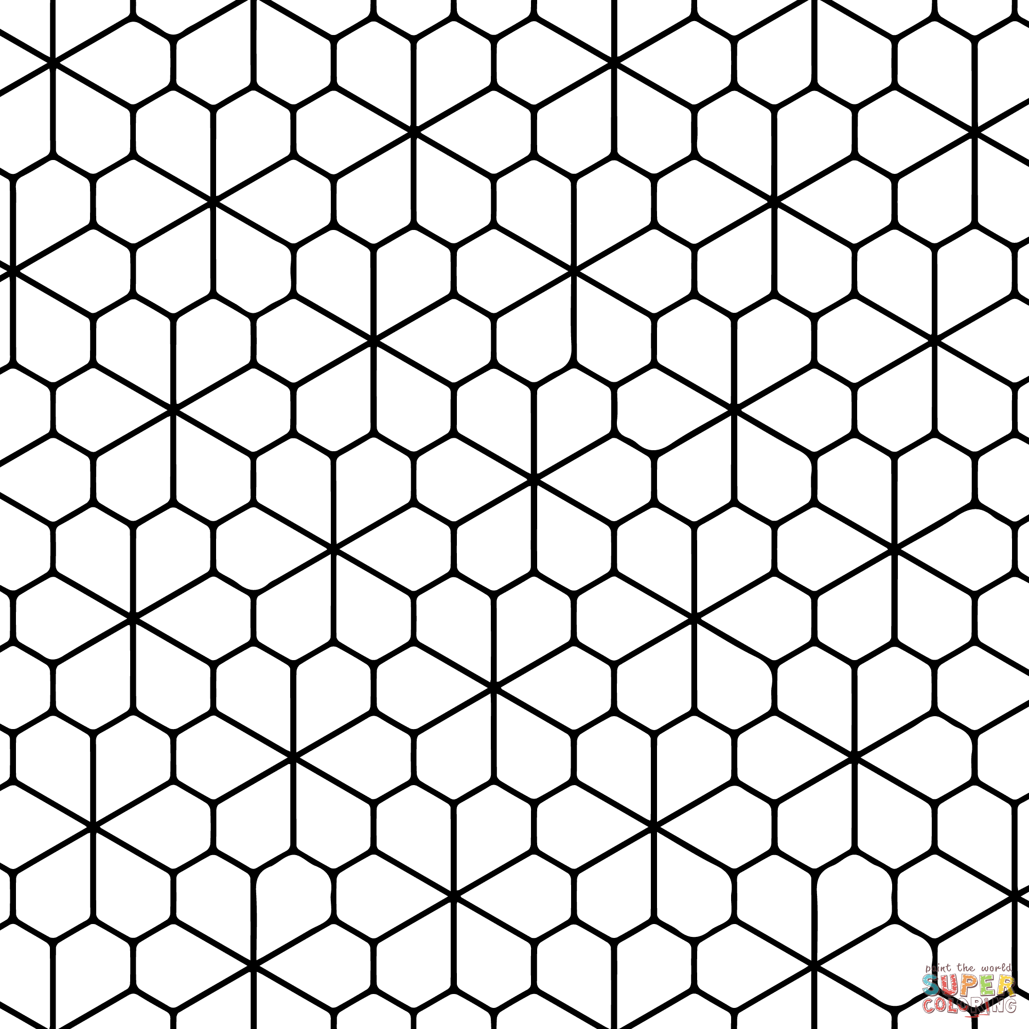 tessellation with floret pentagonal tiling coloring page