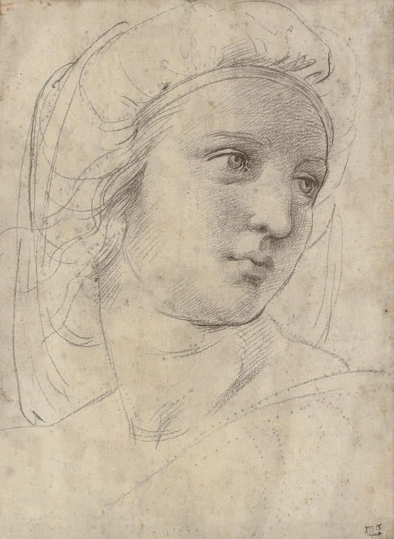 Copy Of Raffaello Head Of A Muse Drawing Academic Drawing Old