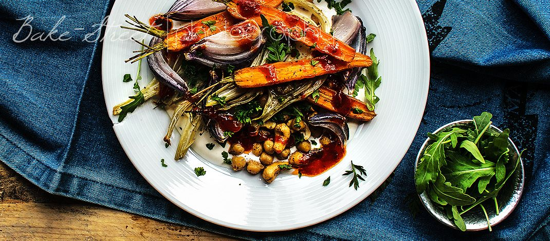 Chickpeas with carrots, fennel and harissa
