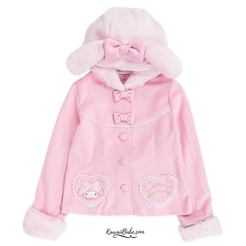 dab0e47d92 Sanrio My Melody Soft Fur Rabbit Ear Fleece Lined Coat   Hoodie Jacket!  100% FREE Shipping Worldwide! 💖Tons more Kawaii