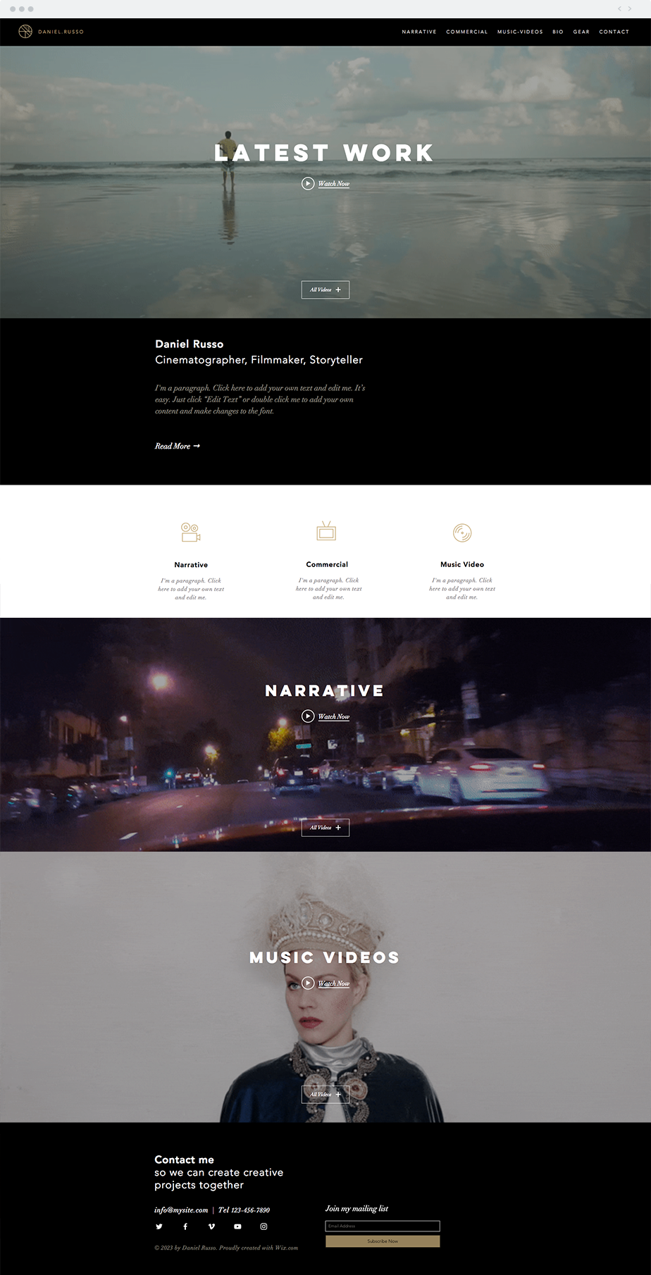 Cinematographer Website Template Website template, Wix