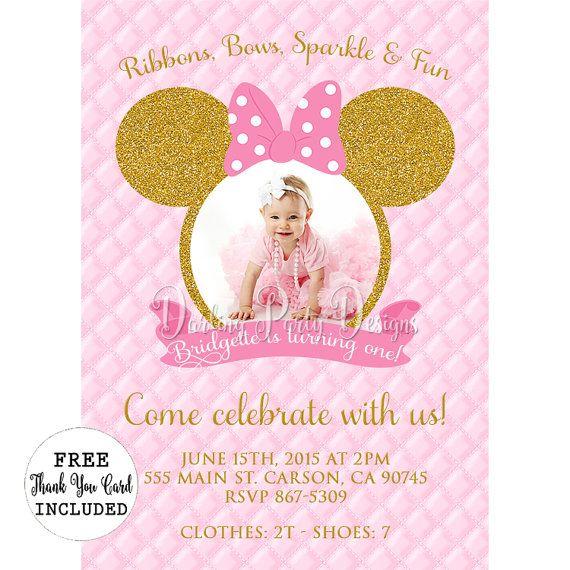 Oro Y Rosa Minnie Mouse Primera Invitación Fiesta De