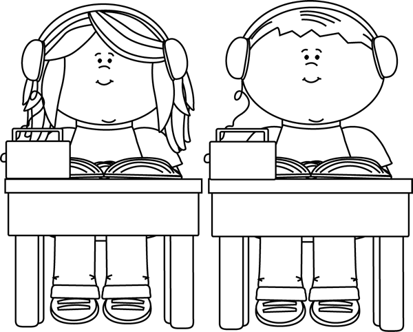 Clip Art Black And White Black And White School Kids Listening To Books Clip Art Image Black Book Clip Art Clip Art Drawing For Kids