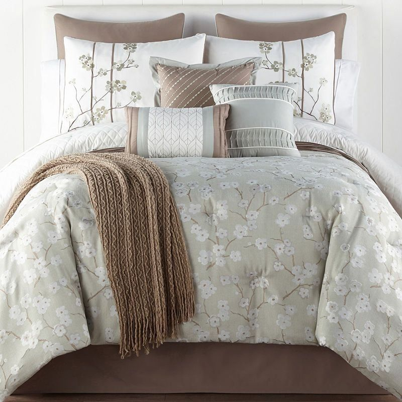 Jcpenney Home Japanese Cherry Blossom 10 Pc Floral Comforter Set Jcpenney Color Sage Ivory 1000 Comforter Sets Bed Comforter Sets Floral Comforter Sets