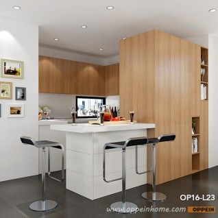 Op16 L23 Modern White Matte Lacquer And Wood Grain Melamine Kitchen