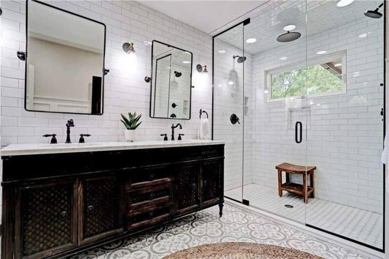 20 Modern Farmhouse And Cottage Bathroom Tile Ideas In 2020 Cottage Bathroom Tile Bathroom Modern Farmhouse Bathroom
