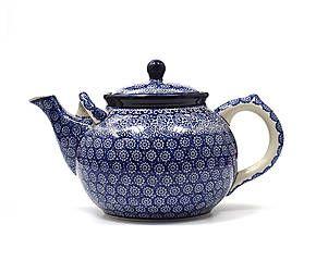 Teiera in ceramica Lace, bianco/blu - L 27 cm